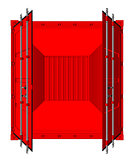 Vector of open cargo container