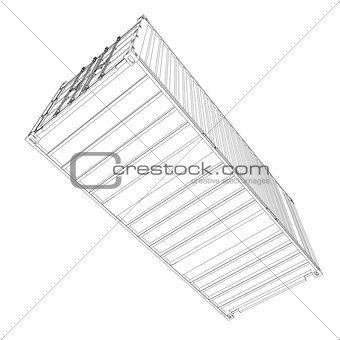Cargo container. Wire-frame style