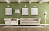 Green and white classic living room