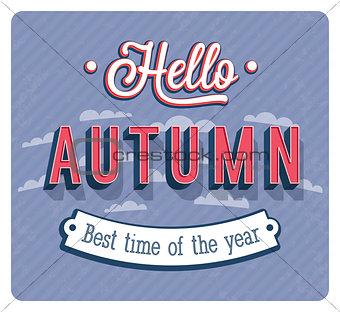 Hello autumn typographic design.
