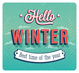 Hello winter typographic design.