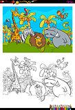 cartoon safari animal characters coloring book