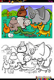 cartoon animal characters coloring book