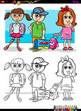 children pupil characters coloring book