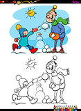 winter fun scene coloring book