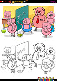 piglets pupil characters coloring book