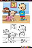 kids with cake cartoon coloring book