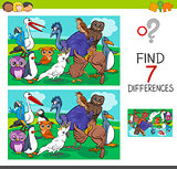 find differences game with birds characters