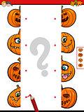 join halves game of halloween pumpkins