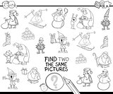find two the same Xmas characters color book