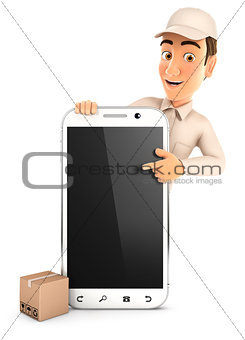 3d delivery man pointing to blank smartphone