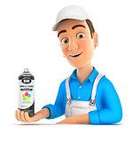3d painter presenting spray paint bottle