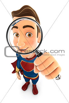 3d superhero looking into a magnifying glass