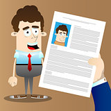 Businessman hand holding CV Profile of candidate.