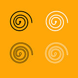 Spiral black and white set icon.