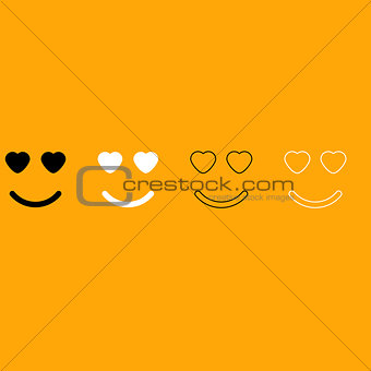 Smile with heart eyes black and white set icon.
