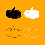 Pumpkin set black and white icon .