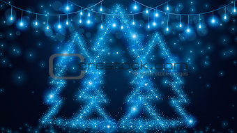 Christmas blue lights