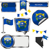 Glossy icons with flag of state Nevada