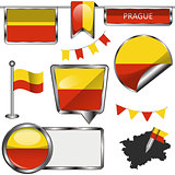 Glossy icons with flag of Prague