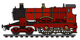 Vintage red steam locomotive