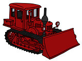 Old red bulldozer