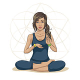 Woman practicing mindfulness meditation, she is sitting in the lotus position and she is surrounded by health and wellness concepts