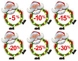 Set discount label Santa Claus Christmas wreath of fir branches