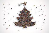 People form the shape of a christmas tree. 3D Rendering