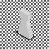 White chess piece rook isometric, vector illustration.
