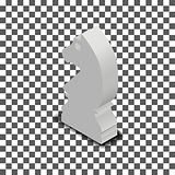 White knight chess piece isometric, vector illustration.