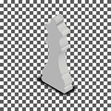 White queen chess piece in isometric, vector illustration.