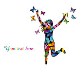 Collorful illustration with silhouette of girl jumping and color