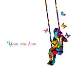 Colorful silhouette of a girl sitting on a swing with colored bu