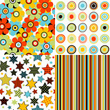 Set patterns for kids with stars, stripes, flowers and round sha