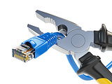 Pliers cutting lan network computer cable. Internet connection d