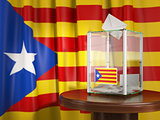 Referendum of independence of Catalonia concept. Ballot box with