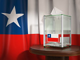 Ballot box with flag of Chile and voting papers. Chilean preside