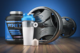 Barbell and whey protein shaker. Sports bodybuilding supplements