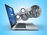 Laptop and gears. Computer technology, online support pc service
