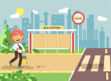 Vector illustration cartoon characters child, observance traffic rules, lonely redhead boy schoolchild, pupil go to road pedestrian crossing on bus stop background, back to school in flat style