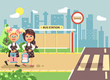 Vector illustration cartoon characters children, traffic rules, two blonde and brunette girls schoolchildren, pupils go to road pedestrian crossing, bus stop background back to school flat style