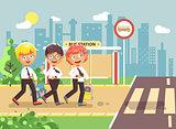 Vector illustration cartoon characters children, traffic rules, blonde, brunette, redhead boys schoolchildren, pupils go to road pedestrian crossing bus stop background back to school flat style