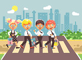 Vector illustration cartoon characters children, observance traffic rules, boys and girl schoolchildren classmates go to road pedestrian crossing, city background, back to school flat style