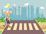 Vector illustration cartoon characters child, observance traffic rules, lonely blonde girl schoolchild, pupil go to road pedestrian crossing, on city background, back to school in flat style