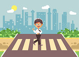 Vector illustration cartoon characters child, observance traffic rules, lonely brunette boy schoolchild, pupil go to road pedestrian crossing, on city background, back to school in flat style