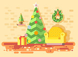 Vector illustration cartoon home interior comfortable chair, room with Christmas tree spruce, happy New Year, Merry Christmas wreath, decorated gifts, celebrate flat style element motion design