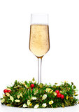 Champagne glass with christmas decoration