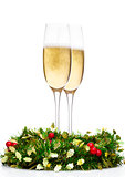 Champagne glasses with christmas decoration