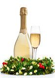 Champagne glass bottle with christmas decoration